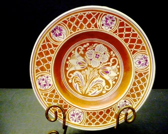 50% OFF-Majolica Orange with cream porcelain plate - Marked