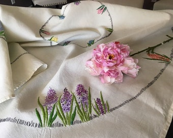 Vintage Embroidered Heavy Linen Tablecloth