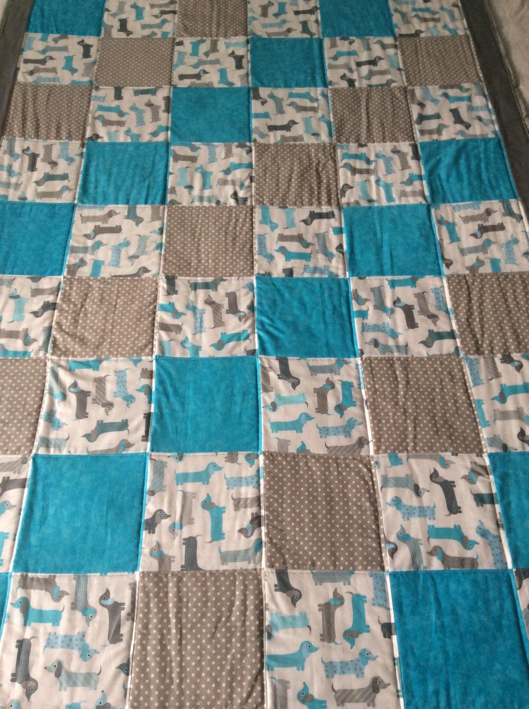 Dachshund Quilt Dog Quilt Dog Blanket Baby Quilt Childs