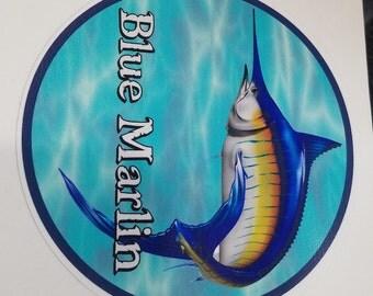 Blue Marlin Decal, blue girl, fish sticker, billfish