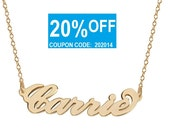 Name Necklace 18K Gold Plated Personalized Name Chain Select any name to personalize
