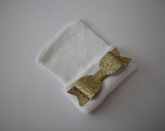 White Cotton Newborn Beanie Hospital Hat, Baby Girl Gold Glitter Bow, Baby Keepsake