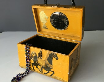 Carousel Horse Decoupage Vintage Purse or Jewelry Box, Handbag Accessory