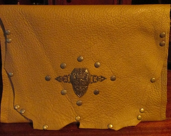 Steampunk Old World Renaissance Leather Clutch Accessory Tan Riveted Bag -- The  Shield