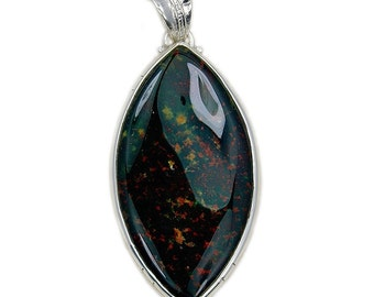 Large Rare Natural Bloodstone & .925 Sterling Silver Pendant , AD943