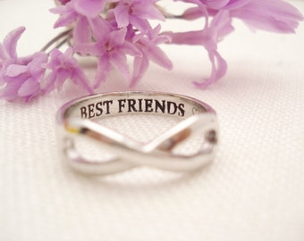 Sterling Silver Personalized ring...Custom Engravable infinity ring, everyday, Gift for her, bridesmaid, sorority, best friends gift