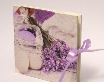 Elegant Wedding Photo Album, Medium Scrapbook Album, White Silk and Lavender Paper Cover, Photoalbum, Wedding Gift, Gift for Bride, Giftidea