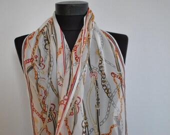 Vintage PRINTED EQUESTRIAN pattern scarf....(089)
