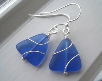 Cobalt Blue Earrings - Sea Glass Earrings - Royal Blue Jewelry - Wire Wrapped Jewelry  - Triangle Earrings - Recycled Glass Earrings