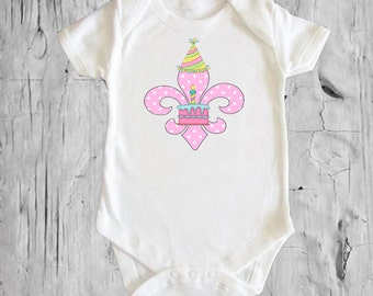 Fleur de lis Birthday Boy or Girl White onsie Snap bottom all in one bodysuit