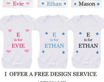 Personalised bodysuit with personalised hat any name baby shower gift