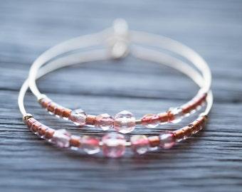 sunrise / pale pink and gold hoop earrings
