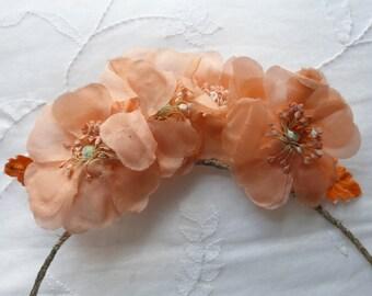 Vintage 1920s/30s bridal wedding bridesmaid head dress band apricot flowers