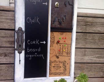 Window chalkboard organizer message board with a magnetic & cork board