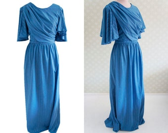 Bridesmaid ceremony lavender blue vintage maxi dress. Angel sleeve. Gathered overlay. Sheer fabric.