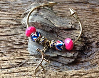 Deer antler bracelet: gold, pink, and blue deer and chevron charm bead bracelet cuff