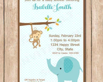 Monkey and Elephant Baby Shower Invitation - 1.00 each printed or 10.00 DIY file