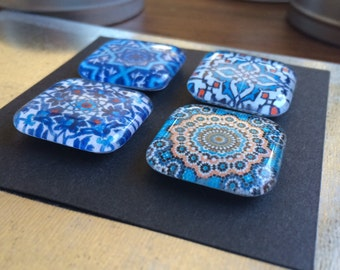 Moroccan print glass magnets