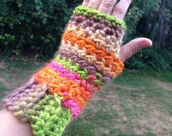 Multicolored Winter Fingerless Gloves, Wrist Warmers, Christmas Gift