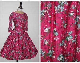 Vintage original 1950s 50s hot pink floral cotton dress by Melbray 6 8 XS S