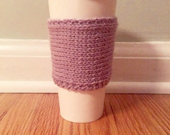 handmade knitted coffee cozy (in lavender)