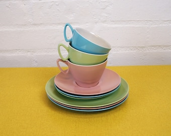 Vintage melamine cups, saucers and plates