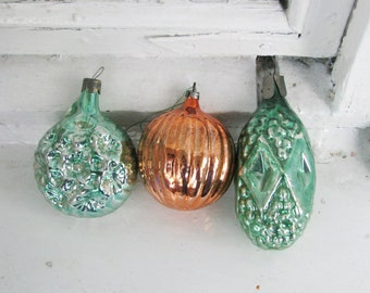 Set of 3 Green Orange  Vintage Soviet Christmas tree decoration, Mercury Glass Ornament, Christmas decor, Retro Tree decoration, M