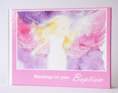 """Baptism gift, angel book for a girl: """"Blessings on your Baptism"""" - Christening gift is only on Etsy available. Angel photos + best wishes"""