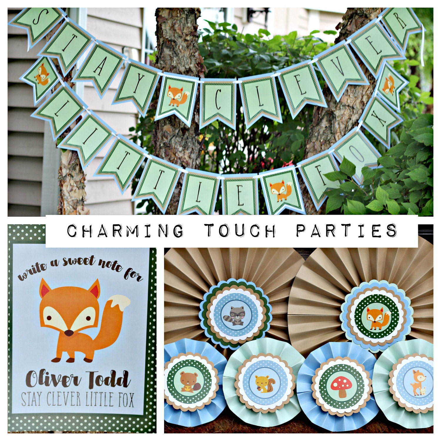 Woodland Baby Shower Supplies ~ Woodland baby shower party decorations clever little fox