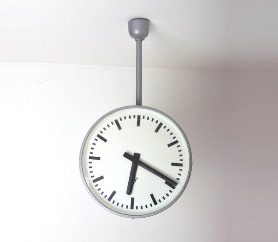 Large Double Sided Industrial Clock Pragotron Vintage Double