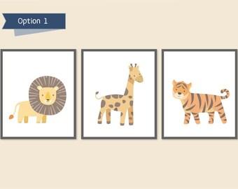 Zoo Nursery, Safari Animal Nursery, Jungle Prints for Kids, Tiger, Giraffe, Lion, Baby Wall Art, Children's Animal Prints, Neutral Nursery
