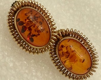 14kt gold and Amber stud earrings