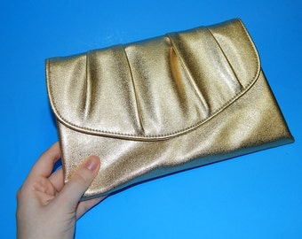 "6"" x 9"" Gold Metallic Vinyl Envelope Clutch Bag Purse Handbag / Formal Wedding"