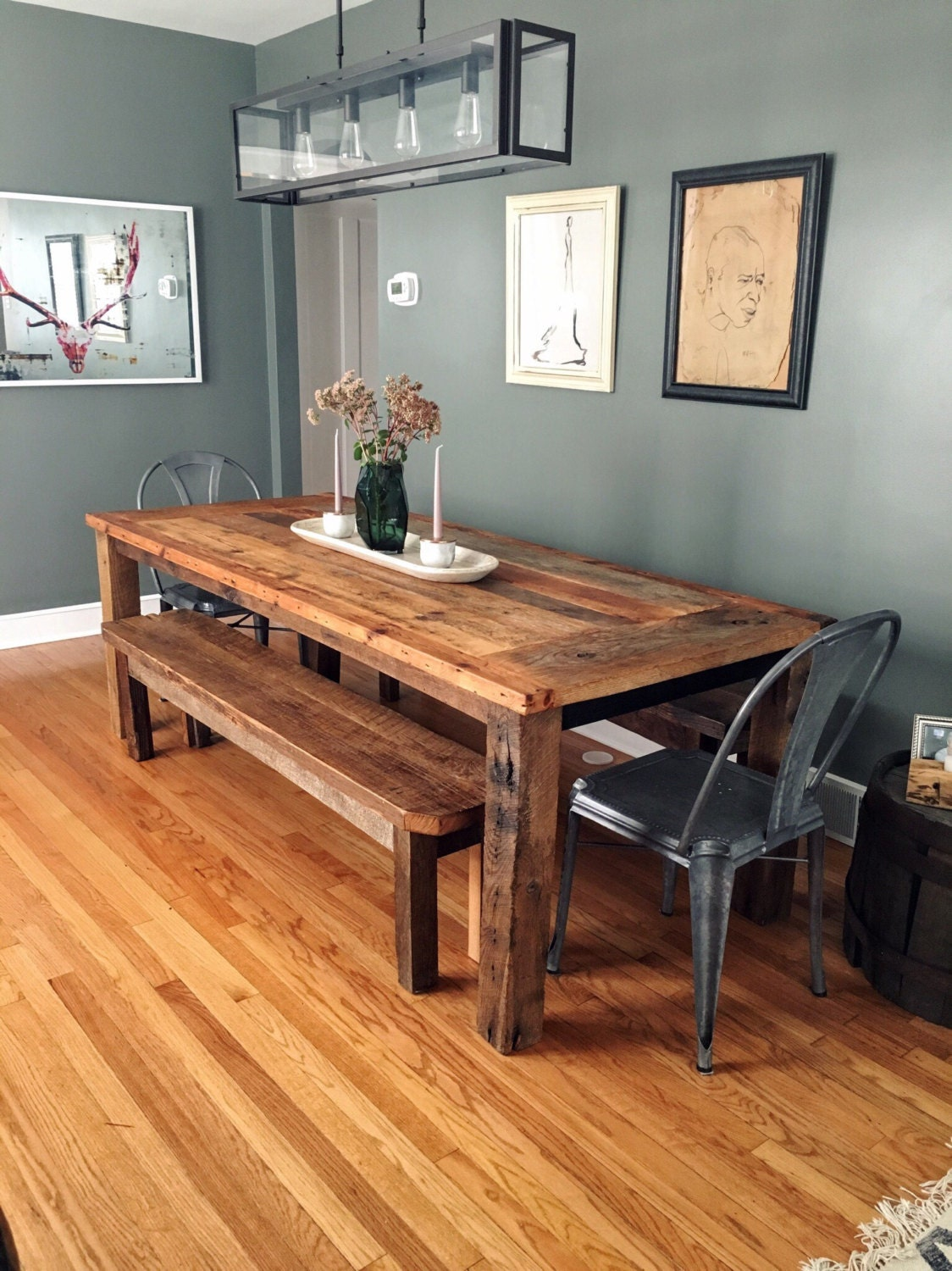 Reclaimed Wood Farmhouse Dining Table Textured Finish
