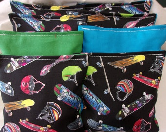 8 ACA Regulation Cornhole Bags - Skateboards on Blue and Green