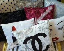 Decorative Pillows~Chanel Pillow~Paris Pillow~Rosette Pillow~Mac Lipstick Pillow~Polka Dot Pillow~Sparkly Pillow~Home Decor~Glamorous Pillow