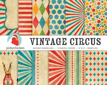 Circus Digital Paper - vintage circus party, carnival, stripes, diamonds, giraffe, elephant, clown, sunburst photography backdrop 8082