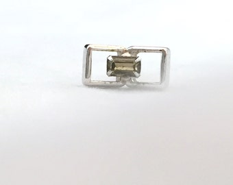 Rectangle Silver Tone Green Stone Tie Tack with Safety Chain, Open Rectangular Tie Tack Light Green Stone, Men's Accessories, Groomsmen