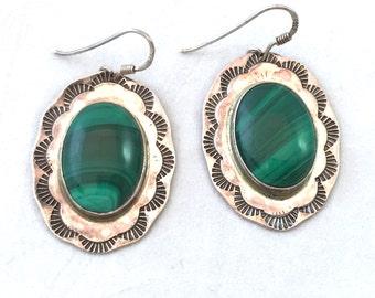 Vintage Malachite Sterling Silver Earrings, Signed VY WWS Green Stone Swirl Earrings, Green Oval Shaped Retro Emerald Green