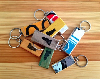 Recycled Skateboard Keychain with Vermont Graphic