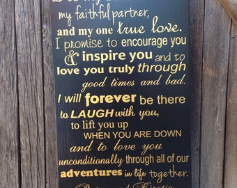 Gold Anniversary Gift Golden Anniversary Gift Wedding Vows Wood Sign Gold Anniversary Gift 50th Anniversary Gift Personalized