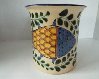 """large 6.5"""" hand painted fish utensil holder Kitchen  container pot planter vase Mexican folk art"""