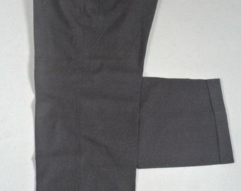 Reichardt's Solid Charcoal Flannel Wool Dress Pleat Trousers Men's Waist Size: 37x31