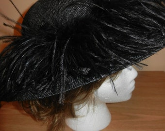 Black Picture Hat - Ostrich Feathers - Black Satin Bow