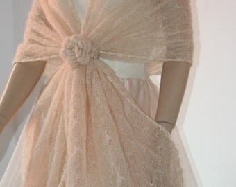 Wedding Bridal Shawl Scarf Bolero Shrug Lace Crochet Shrug Boleros ivory  mohair Silk