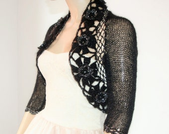 EVENING SHRUG wedding or bridesmaids bolero shrug mohair warm knitted crochet color black