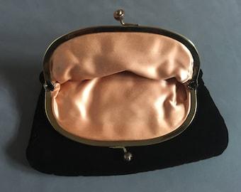 Vintage Dark Brown Velvet Clutch