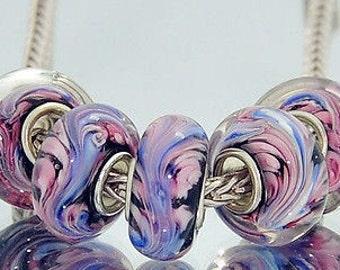 Pink Blue Swirls on Black Murano Glass Bead Charm 925 Silver Fits Trollbeads Chamilia Biagi & All European Charm Bracelet Big hole bead