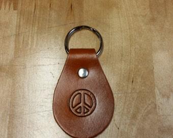 Peace sign leather keychain, key fob, key ring, key tag, leather, key chain