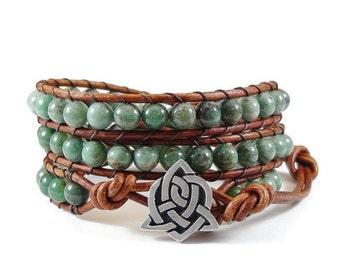 Leather Wrap Bracelet African Jade Gemstones Celtic Sister Knot Green Beaded Jewelry